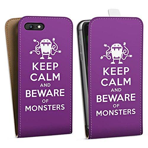 Apple iPhone X Silikon Hülle Case Schutzhülle Keep Calm Monster Spruch Downflip Tasche weiß