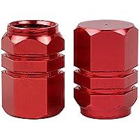 NOPNOG Juego de 4 tapones para válvula de neumático de coche, aleación de aluminio, color rojo