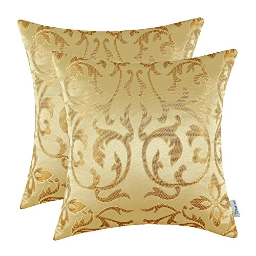 CaliTime Cushion Covers 2 Pack 45cm x 45cm Gold Vintage Floral Both Sides Throw Pillow Cases -