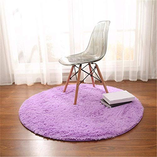 Trayosin - tappeto a pelo lungo shaggy, rotondo, per soggiorno, camera da letto e bagno, lilla, 100cm