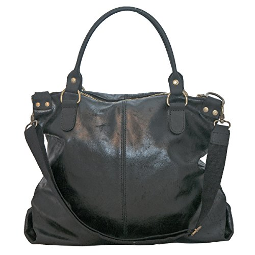 BORDERLINE - 100% Made in Italy - Borsa da Donna in Vera Pelle - Stile Vintage - - LISA Nero