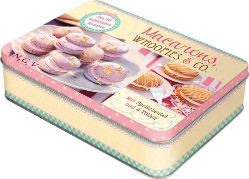 Macarons, Whoopies & Co.: Die 50 schönsten Rezepte. Metallbox mit Spritzbeutel und 4 Tüllen