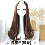 WIAGHUAS Perücke langes lockiges Haar Welle Stealth nahtlose Haare Runde Gesicht volle Kopfbedeckungen U-förmige halbe Kopfbedeckung lange gerade Haare,eine tiefe Kastanienbraun
