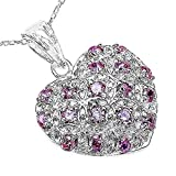 The Pink CZ Pendant Collection: 925 Sterling Silver Soft Pink CZ Set Pendant Platinum Overlay 1.90 Carats Pink Cubic Zirconia an 18 Inch Sterling Silver Chain, Mother's Day Gift