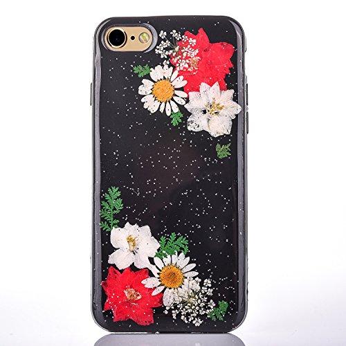 "iPhone 6sPlus Handyhülle, CLTPY iPhone 6Plus Transparent Klare 3D Motiv Fall, [Ultra Hybrid] Echte Getrocknete Blumen Series Etui, Dünne Stoßfest Gummi Case für 5.5"" Apple iPhone 6Plus/6sPlus (Nicht i Floral 3"
