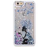 iPhone 5C case, Little Sky (TM) [Slim Fit] [fluente Liquid] Floating Bling glitter Sparkle Stars cover rigida per Apple iPhone 5C Butterfly Girl 7