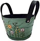 Nutley%27s Green: Nutley's Small Round Green Recycled Tyre Planter with Handles