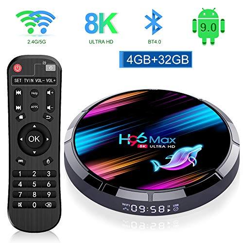 OKEU H96 Max Android TV Box 【4G+32G】 Smart TV Box mit Amlogic S905X3 Quad-core Cortex-A55/Dual WiFi 2.4G/5.0G /1000M/HDMI 2.1/4K HD/ BT4.0 Android 9.0 TV Box