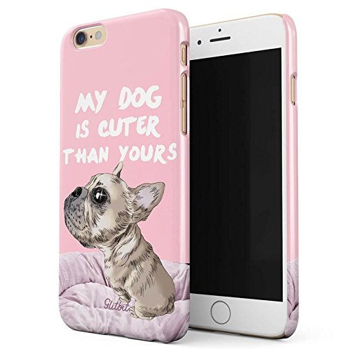 Glitbit My Dog Is Cuter Than Yours Hund Welpe Cute Puppy Doggo Pup Animal Gift For Dog Lover Dünn Robuste Rückschale aus Kunststoff Für iPhone 6 / 6s Schutzhülle Schutz Hülle Case Cover (Bull Terrier Phone Case)