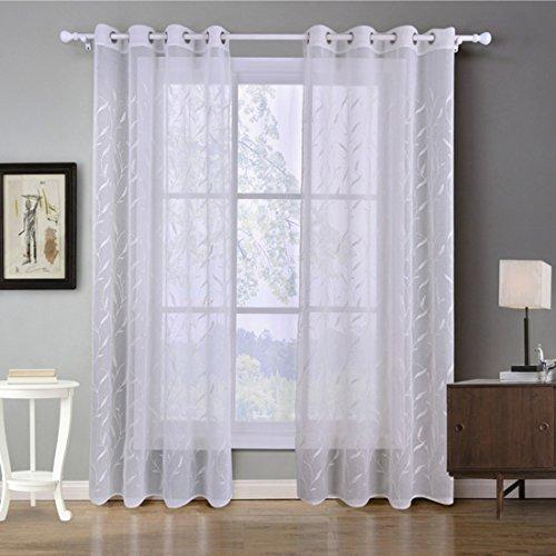 Gwell, tende bianche, trasparenti, con occhielli, tenda decorativa, per soggiorno, camera da letto, confezione singola, 1 pezzo, tessuto, muster-a, 260x140 (hxb), stück x1