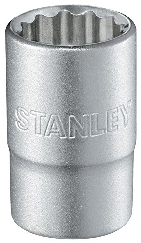 Stanley 1/2 Zoll Steckschlüssel 12-Kant (9mm, 38mm Länge, metrisch, Chrom-Vanadium Stahl, Maxi-Drive Profil) 1-17-052