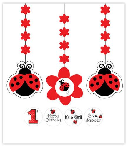 Creative Converting Ladybug Fancy Hanging Decorations with Stickers (3 Piece)