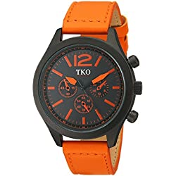 TKO Men's Matte Black Case Rugged Aviator Watch Orange Leather Military Watch TK650OR