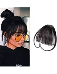 LaaVoo Frange Noir Clip in Extensions Cheveux Clips Remi Humains Une Piece Air Bangs Hair Clip on Invisible Naturelle