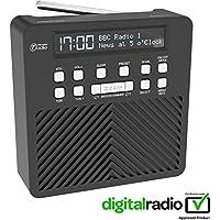 AZATOM Sonance T1 Radio-Sveglia PortatileDAB Digitale FM - Batterie - Ricarica Veloce da USB - Alimentatione da Rete - Nera