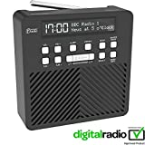 Azatom Sonance T1 FM Radio Reloj Despertador Digital DAB Sonance de AZATOM – A pilas – Carga rápida USB – Alimentado por red - Negro