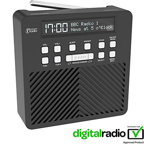 5752b3dcc65d AZATOM Sonance T1 DAB Digital FM Radio Alarm Clock - Speaker System - Dual  Alarm - Clock Radio - Rechargable Battery - USB Charging (Black)