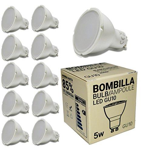 BarcelonaLED Pack 10x GU10 Bombilla Dicroica LED 5W 50mm Lámparas Halógenas Equivalentes 50W 440lm Blanco Cálido 3000K Neutro 4000K Frío 6000K No Regulable Bajo Consumo Ojo de Buey