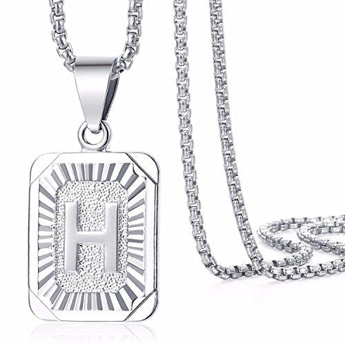Trendsmax Quadratischer Anfangsbuchstabe H Anhänger Halskette Weiß Gold gefüllt Frauen Männer Kette Box Link (Männer Gold Gefüllt Kette)