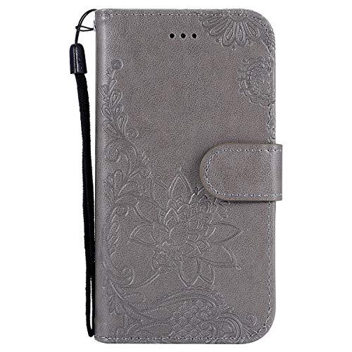 Herbests Kompatibel mit Hülle Galaxy S3 Handytasche Handyhülle Flip Case Ledertasche Schutzhülle Madala Blumen Prägung Muster Brieftasche Wallet Lederhülle Bookstyle Klapphülle,Grau (S3 Kopfhöreranschluss Galaxy)