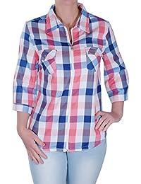 Eyecatch - Damen Reißverschluss Nach Oben Kariertered Lässig Damen Hülle Plus Größe Kariert Bluse Hemd