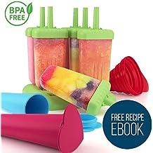 Eisformen Set für Kinder und Erwachsene - 6 Stück Eis am Stiel Bereiter und 2 Eislutscher Formen aus Silikon mit Trichter - nichthaftender bunter Ice Pop Maker, ohne BPA - Ebook gratis