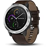 Garmin v�voactive 3 GPS-Fitness-Smartwatch ? 24/7 Herzfrequenzmessung am Handgelenk, vorinstallierte Sport-Apps, integriertes GPS, Mobile Payment via NFC, Silber, Armband dunkelbraunes Leder inkl. Schwarzem Silikon-Wechselarmband Bild