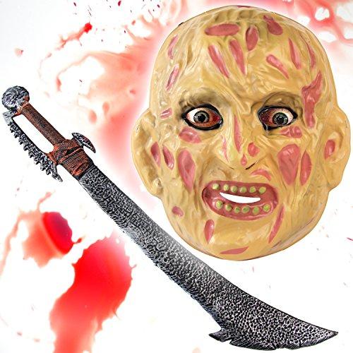 Rüstung Kostüm Ork - HALLOWEEN Set Spezial - Freddy Maske + Ork Schwert