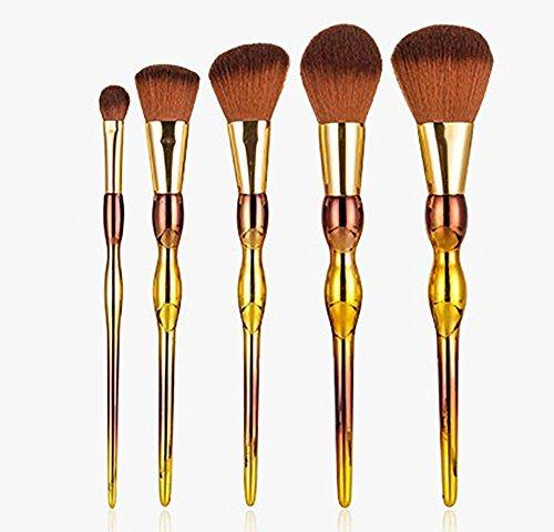 Maquillage Brosse, 5 Pcs/Set Gourd Poignée Maquillage Brosse Mélange Poudre Fard à Paupières Contour Concealer Beauté Cosmétique Pinceau Jouet Outil (Color : Gold)