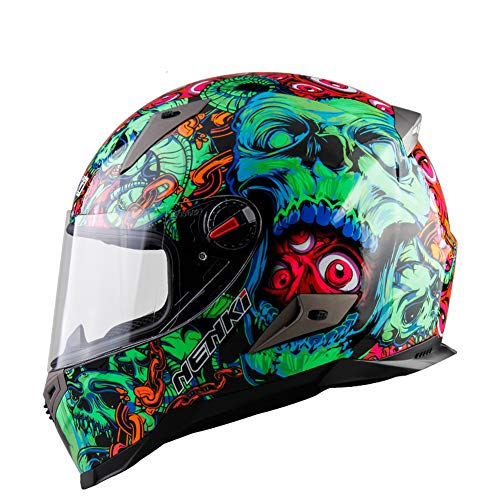 Goolife Casco Modulare Moto Crash High Safety-NENKI Casco Integrale da Motociclista con Visiera Parasole per Uomo Adulto Donna,M