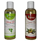 #9: Combo of Olive Oil and Castor oil - 100% Pure Natural Cold Pressed Oil For Aromatherapy & Therapeutic Grade - Ideal for hair loss Treatment, Hair Growth, Skin Treatment, Acne Scars, Face, Massage (100ML)