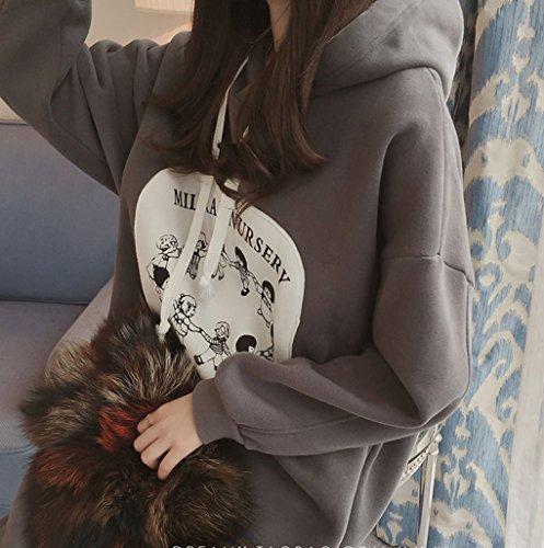 Felpa Donna Tumblr con Cappuccio Pullover Vestito Autunno Manica Lunga Casual Felpe Stampate Abito Taglie Forti Maglietta Camicia Collo rotondo Hoodie Sweatshirt Blusa Top Tinta Unita - Landove Grigio