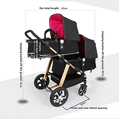 GHH Double Strollers Baby Pram Tandem Buggy Newborn Pushchair Ultra Light Folding Child Shock Absorber Trolley Can Sit Half Lying 0-3 Years Old(Maximum Loadable 50Kg Baby),Coolblack/panda  CBDFG