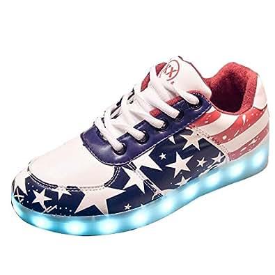 [Present:kleines Handtuch]Schwarz EU 43, 7 Leuchten weise mit Farbe Sneakers Stern Sportschuhe LED-Licht USB