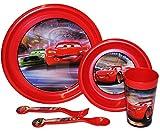 alles-meine.de GmbH 5 TLG. Set -  Disney Auto - Cars  - Teller + Müslischale + Trinkglas + Gabel / Löffel - aus Kunststoff / Plastik - Küche Essen - Kindergeschirr / Frühstücks..