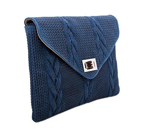 Slingbag Düsseldorf, Poschette giorno donna Blu blu Handliche Abendtasche, gut geeignet für kleine Sachen., blu (Blu) - Kim flecht Optik blau blu