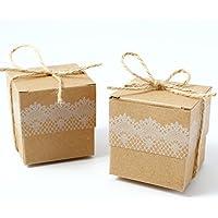 CLE DE TOUS - 50pcs Cajas kraft para dulces bombones Caja kraft de boda regalo Jabón Caja de cuadro 5x5x5cm Cajita Rústico para Fiesta Bautizo Color Marrón + Cuerdas para decoracion (A)