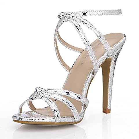 New Female sandals large high-heel shoes Black silver light Kim Serpent Skin annual breakdown with shoes,