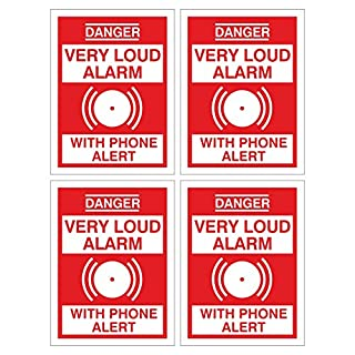 Pack of 4 DANGER VERY LOUD ALARM WITH PHONE ALERT signs. Deter intruders with these high quality signs. 75mm x 100mm. Ideal for sheds, garages, homes, work premises. (1mm Thick Rigid Plastic)