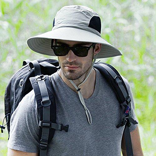Breiter Krempe Fischerhüte Buschhut - Sonnenschutz UPF 50 + Sonnenhut - Unisex Erwachsene Eimer Hüte Cap mit kinnband Anglerhüte für Outdoor Wandern (Hellgrau)