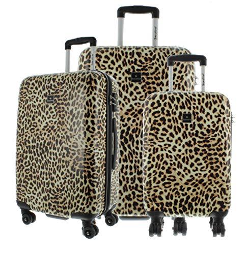 Saxoline Koffer Spinner mit TSA-Zahlenschloss, 3er Set Leopard