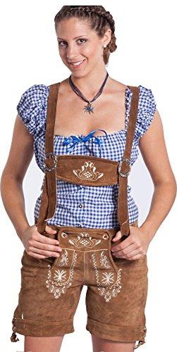 """Schneekoppe""(40,Schneekoppe hellbraun) Damen Lederhose sexy kurz - Oktoberfest Frohsinn - Trachtenlederhose in unterschiedlichen Gr��en und Farben"