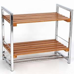 etag re 2 plateaux bambou et chrome poser au sol ou fixer au mur cuisine maison. Black Bedroom Furniture Sets. Home Design Ideas