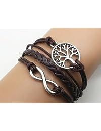 Original Tribe Infinito y árbol de la vida Pulsera de plata linda del encanto de la pulsera de Brown Cordón de Cera Brown trenzó la pulsera del cuero brazalete Amistad Regalo 2540R