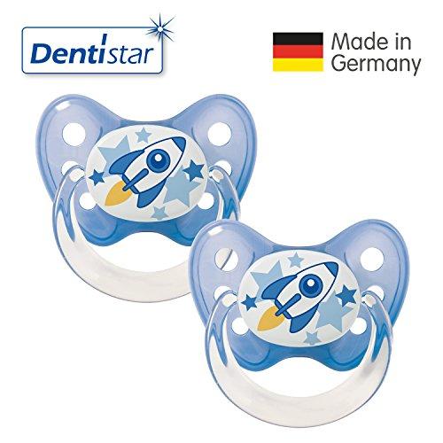 Dentistar® Latex Schnuller 2er Set inkl. 2 Schutzkappen - Nuckel Naturkautschuk Größe 1 von Geburt an, 0-6 Monate - für Babys - Rakete, blau