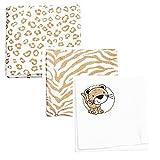 Odenwälder Moltontücher Leo 3er Pack 80 x 80 bedruckt, Design:beige