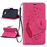 ZeWoo Für Microsoft Lumia 650 / Lumia 650 Dual-SIM (5 Zoll) Tasche Ledertasche Kunstleder Brieftasche Hülle PU Leder Schutzhülle Case Cover - BF059 / Rosa Feder