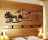 Wandtattoo Düsseldorf Skyline XXL Tattoo Wand Aufkleber Deutschland Stadt 1M137, Farbe:Schwarz Matt;Breite:140 cm