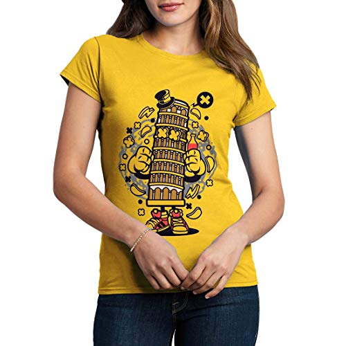 C192WCNTY Damen T-Shirt Pisa Tower Retro Leaning Bell Cathedral Tilt Attraction Roman Italy Tourist Classic(X-Large,Yellow)