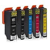 5 Cartouches d'Encre compatible avec Epson 33-XL / T3337 / T3357 (1x Noir, 1x Noir-Photo, 1x Cyan, 1x Magenta, 1x Jaune)